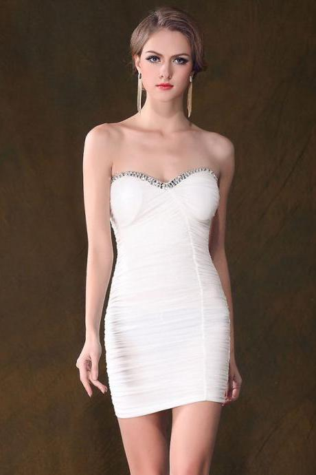 Beaded sleeveless dress Slim dress