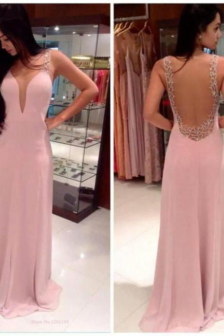 Shining Sexy Backless Open Back Long Maxi Chiffon Party Evening Dress