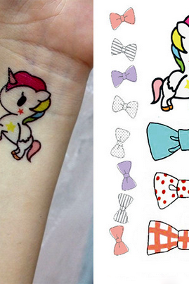 4Pcs Colored Unicorn with Bowknots Tattoo Stickers