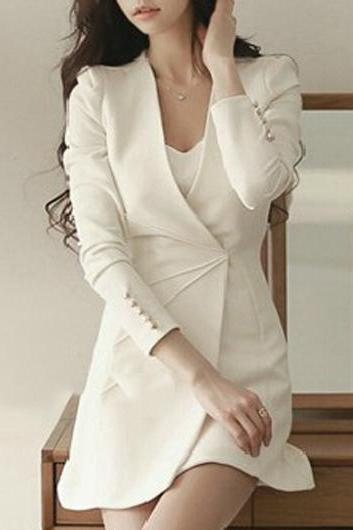 High Quality Elegant Solid Long Sleeve A Line Dress