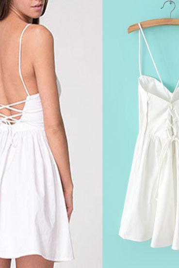 White Plunge V Spaghetti Straps Short A-Line Dress Featuring Lace-Up Open Back