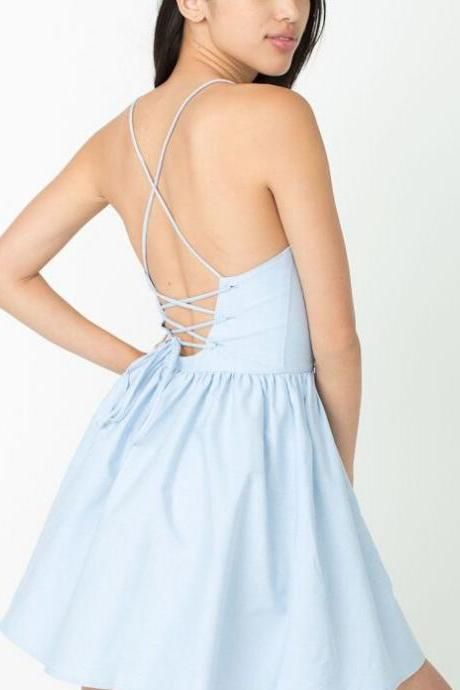 Plunge V Spaghetti Straps Short A-Line Dress Featuring Lace-Up Open Back