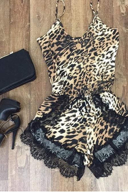 on sale HOT LEOPARD LACE JUMPSUIT ROMPER