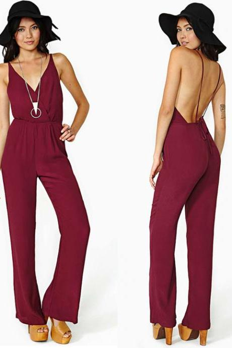 Women Chiffon Sexy Deep V-neck Backless Strap Sleeveless Rompers Jumpsuit