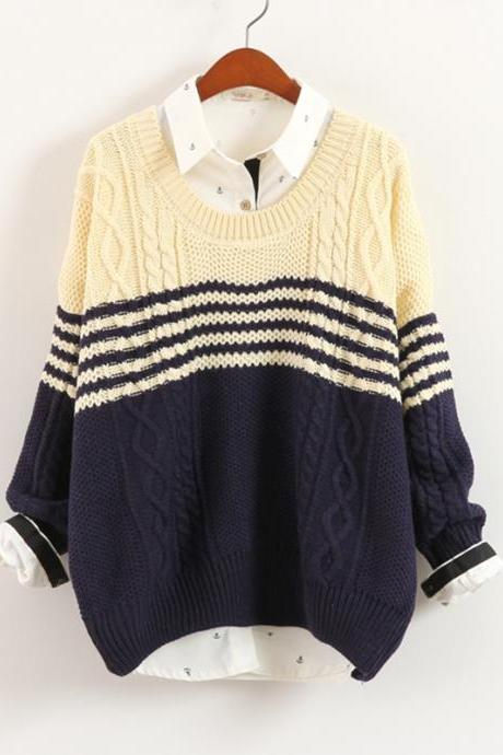Blue Stripes Twist Loose Pullovers Blue Knitwear