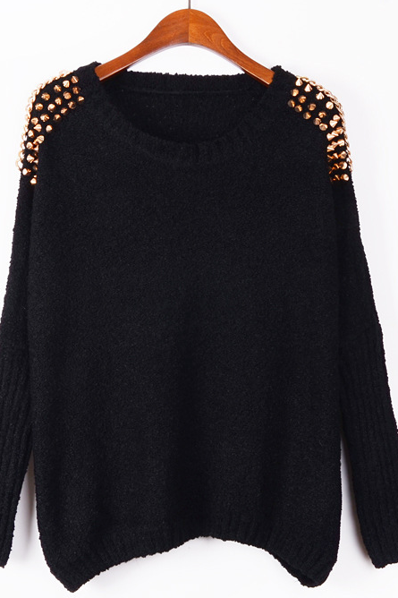 Sexy Metal Rivets Bat Sleeve Sweater Loose Turtleneck Sweater Sweater-Black