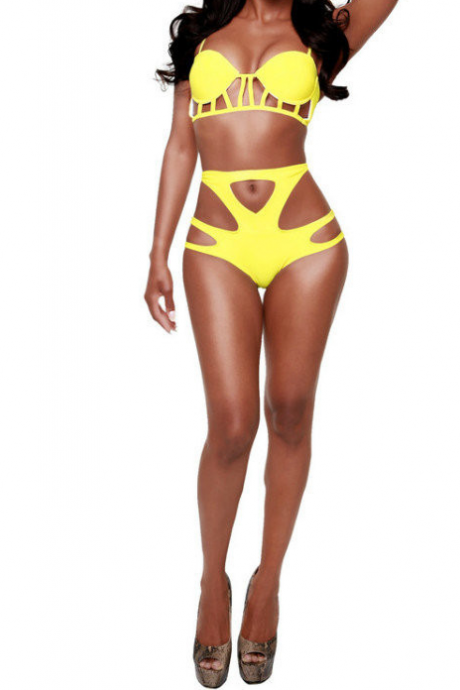 The new 2015 Europe and sexy high waist hollow out ms fission swimsuit