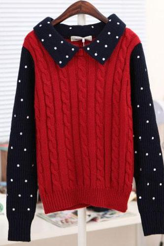 Sweet Twist Long-Sleeve Polka Dots Braid Sweater&Cardigan
