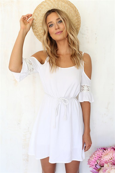 Sling white chiffon dress lace stitching