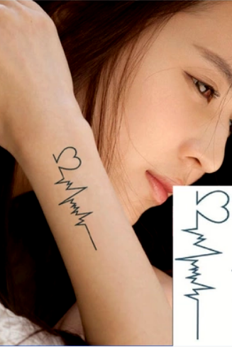 4Pcs Heart Electrocardiogram Tattoo Stickers