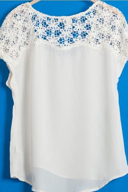 Hollow Lace White Top