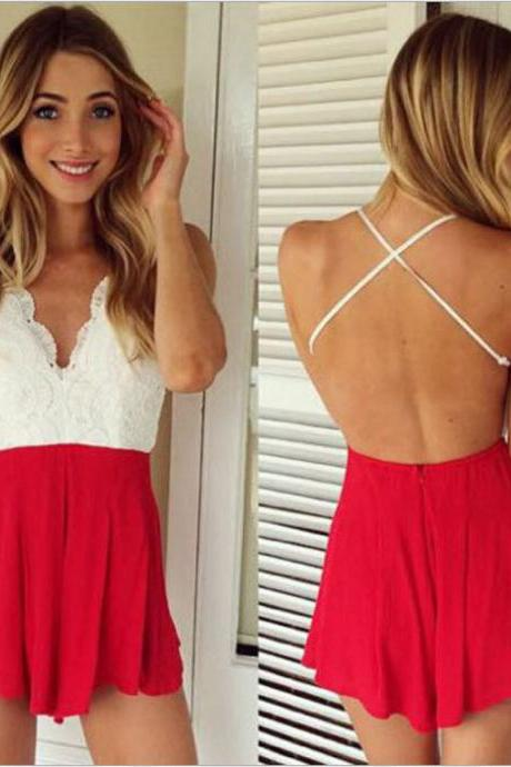 Sexy Halter Straps Sleeveless V-Neck Lace Piece Pants