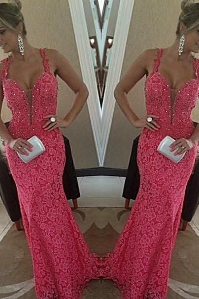 Pd437 High Quality Prom Dress,Charming Prom Dress,Lace Prom Dress,V-neck Prom Dress,Mermaid Prom Dress