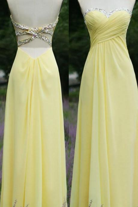 Pretty Simple Yellow Chiffon Cross Back Prom Dresses 2015, Simple Prom Dresses, Yellow Dresses 2015, Evening Dresses