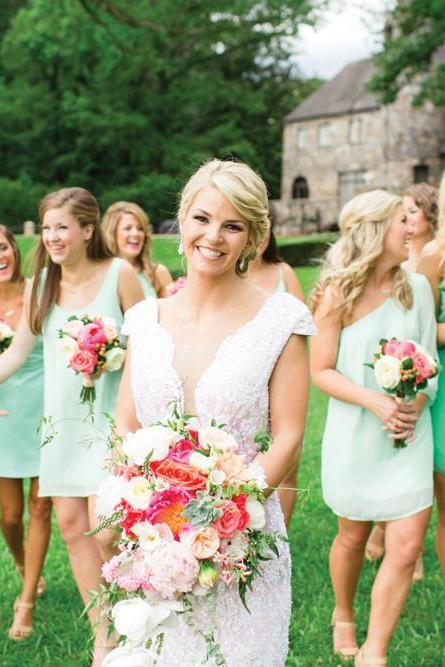 New Scoop Mint Green Bridesmaid Dresses Short Bridesmaid Dress