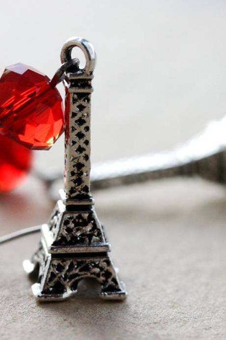 Eiffel Tower earrings - Paris France scarlet red crystal romantic Paris romance