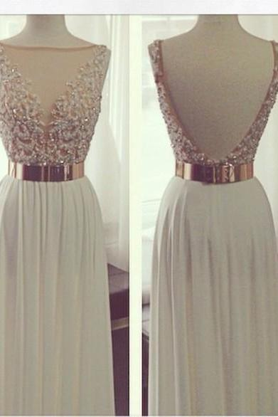 Custom A Line Backless Long Prom Dresses, Backless Evening Dresses, Formal Dresses, Sexy See-through Prom Dresses, Prom Dress with Gold Metal Belt, Long Evening Dress, Weddings