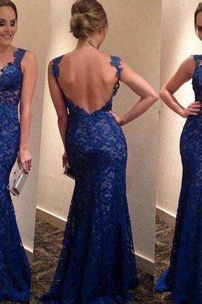 2016 Appliques and Lace Prom Dresses, Floor-Length Prom Dresses, Sexy Prom Dresses, Sheath Prom Dresses, Charming Backless Evening Dresses,