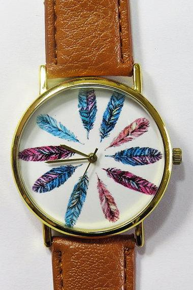 Colorful Feathers Watch, Vintage Style Leather Watch, Women Watches, Unisex Watch, Boyfriend Watch