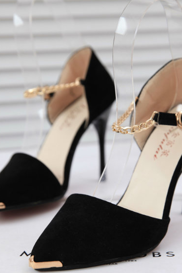 Pointed-Toe Chain Ankle-Strap Stilettos, High Heels