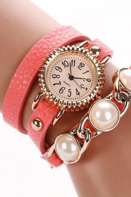 Wrap PU leather luxury dress woman pink watch