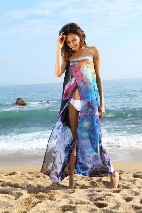 Women's Sexy Bikini Swim Suit Swimwear Cover Up Beach Long Dress Bathing Suits