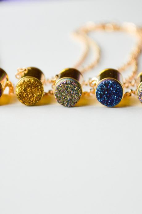 Natural Gold Druzy Bullet Pendant 14K Gold Plated Necklace
