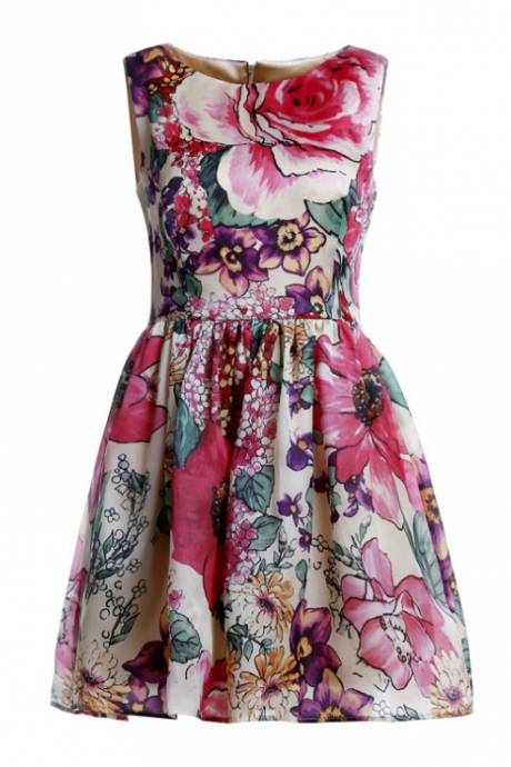 High-end women's clothing printing fold silk organza dress