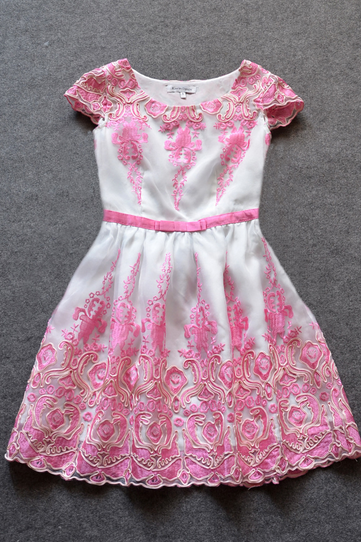 Embroidered organza dress--pink