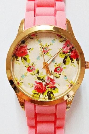 Prettier in Pink Floral Watch, Women Watches, Fashion Watch, Boyfriend watch, Rose Gold