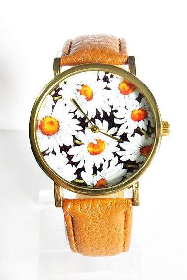 Daisy Floral Watch, Vintage Style Leather Watch, Women Watches, Boyfriend Watch, Florals