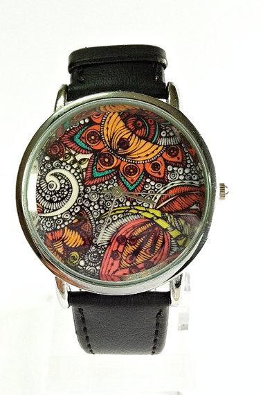 Paisley and Floral Watch, Vintage Style Leather Watch, Women Watches, Unisex Watch, Boyfriend Watch
