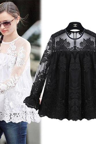 Fashion Long Sleeve Round Neck See-Through Lace Embroidery Tops