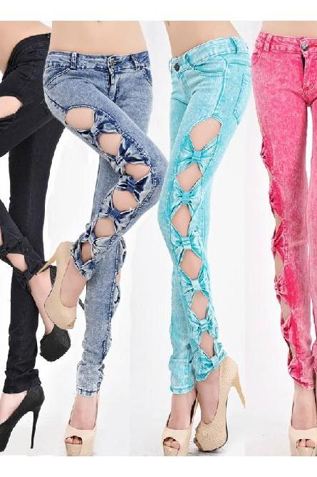Bowknot Cutout Sides Skinny Jeans