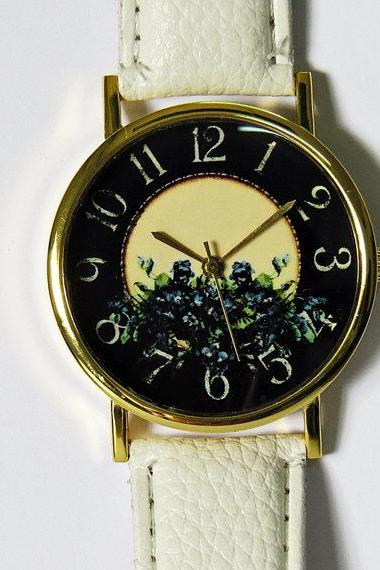 Floral Watch , Vintage Style Leather Watch, Women Watches, Blue flowers, Boyfriend Watch