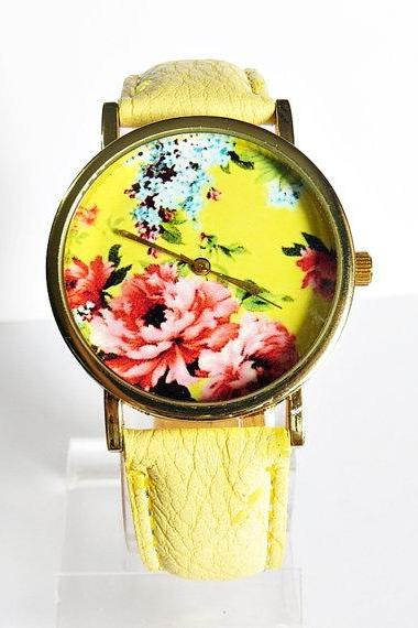 Floral Watch, Vintage Style Leather Watch, Women Watches, Boyfriend Watch, Yellow