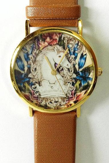 Vintage Horse Watch , Vintage Style Leather Watch, Women Watches, Boyfriend Watch, White Horse
