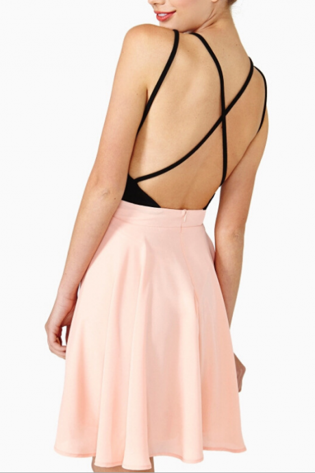 Sexy condole belt cross low-cut backless cultivate one's morality show thin dress