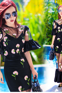 2015 New Women's Clothing Embroidery Carnation Club Package Hip Two Fishtail Dress Sexy Perspective111