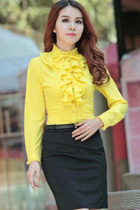Fashion Womens Long Sleeve Stand Collar Falbala Drape Button Shirt Tops Blouses
