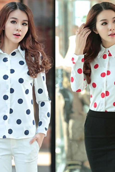 Fashion Womens Long Sleeve Polka Dot Turn-down Collar Button Shirt Tops Blouses