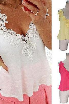 Sexy Women Deep V-neck Lace Splicing Vest Casual Chiffon Slim Backless Tank Tops