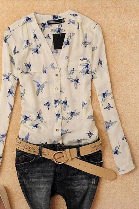 Fashion Women V Neck Long Sleeve Chiffon Floral Casual T Shirts Blouse Tops