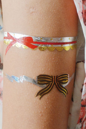 One Piece Bowknots Flowers Metallic Gold Tattoo Sticker
