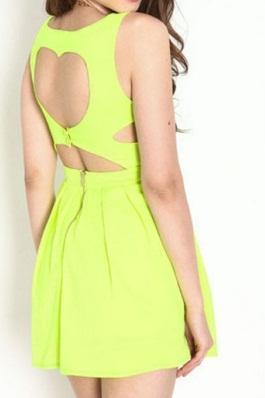 Yellow Neon Heart Thief Pleated Dress