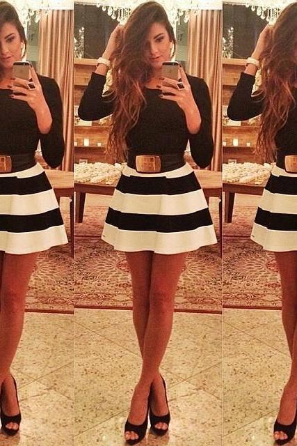 Black And White Stripe Mosaic Dress