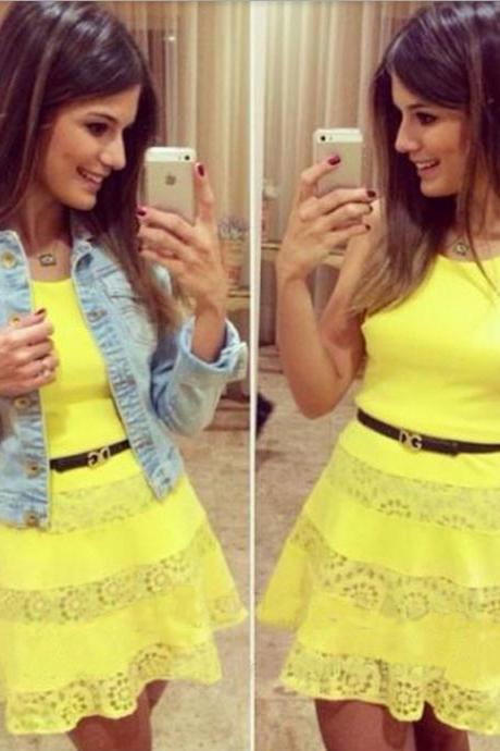 Yellow Lace Sleeveless Dresses