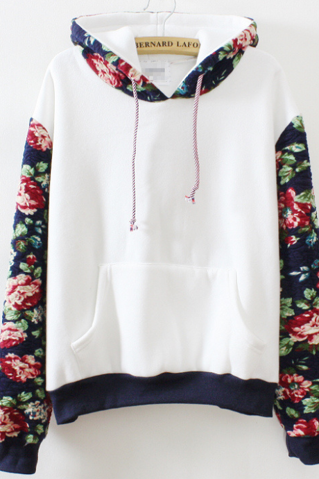 on sale FASHION HOT FLOWER SWEATER FLEECE