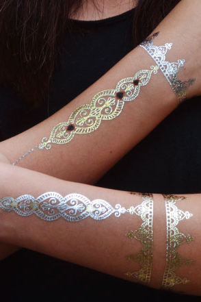 One Piece Indian Style Gold Temporary Tattoo Sticker
