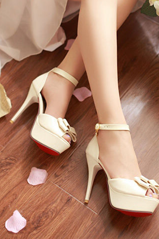 Bow slip buckle ankle stiletto sandals--beige
